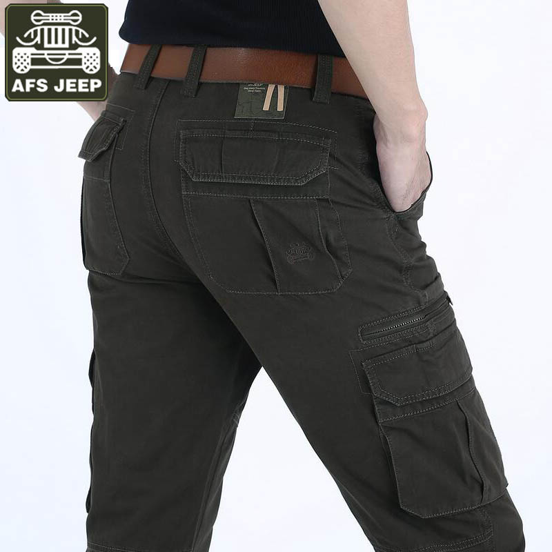 AFS JEEP Brand Pants Men's Cargo Pants New Designer Military Solid Straight Trousers Multi-pockets Cargo Pants Pantalon Homme afs jeep new men cargo pants autumn winter overall loose straight more pocket jeans fashion casual man trousers bottoms