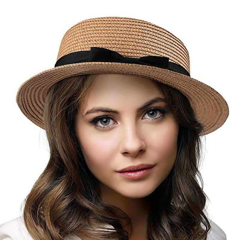 880bd1299b5 Straw Ladies Hats Women Summer Panama Sun Caps Big Brim Sunshade Beach Hat  Female Jazz Cap