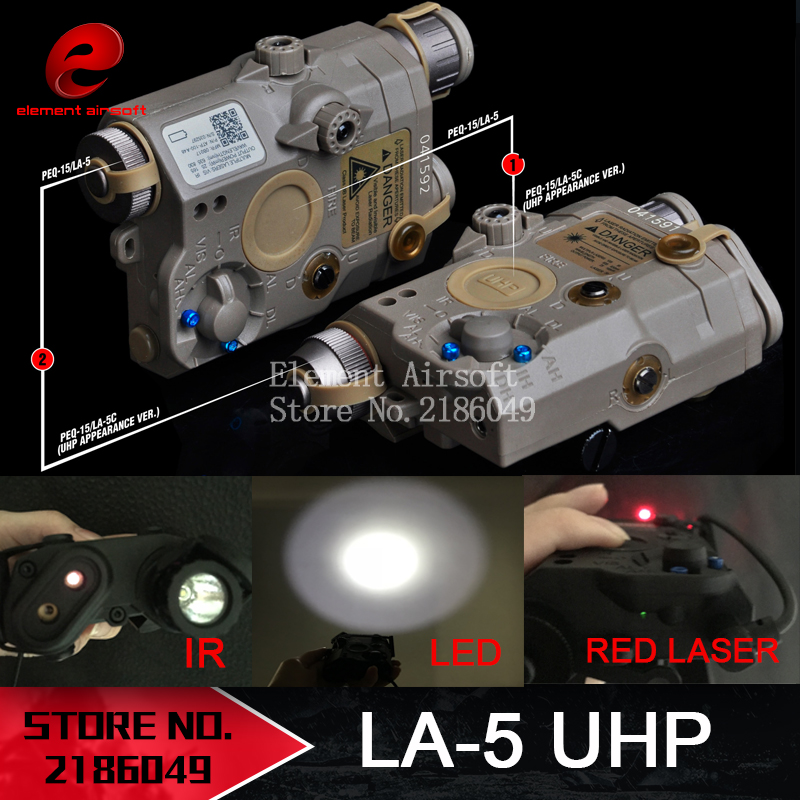 Flashlight Laser Element Airsoft PEQ EX396 LA5 Red LED Appearance-Version