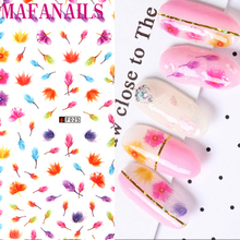 Sticker Nail 3D Decals Multi Color Flowers Designer Nails Decoration Full Cover Autumn Floral Flower Adhesive 3D Nail Sticker picaso 3d designer