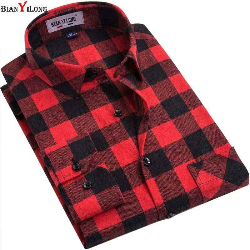 92d53b0ece0 BIANYILONG бренд для мужчин рубашки в клетку Новинка 2019 года высокое  качество с длинными рукавами Мода