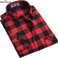 BIANYILONG Brand Men Plaid Shirts 2017 New High Quality Long Sleeved Fashion Leisure Flannel Men Shirt