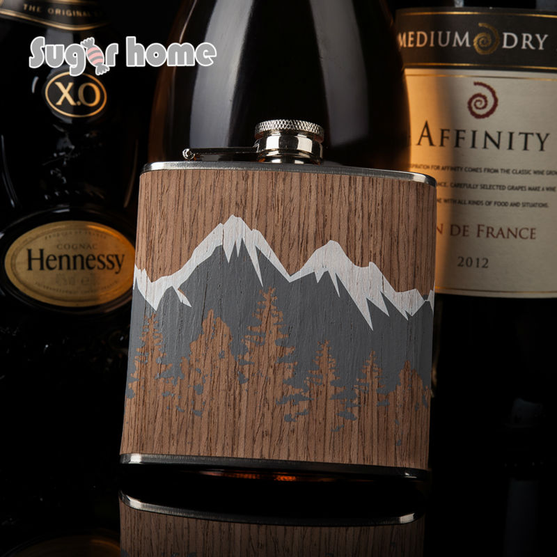 Heißer verkauf 6 unze holz gewickelt 304 # edelstahl hüfte glaskolben Glaskolben für Alkohol Flasche wodka Whisky flasche groomsmen geschenke
