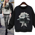 Autumn Floral Print Women Hoodie Long Sleeve O-Neck Pullovers Sweatshirts 2016 New Fashion Ladies Casual Coat Plus Size W225