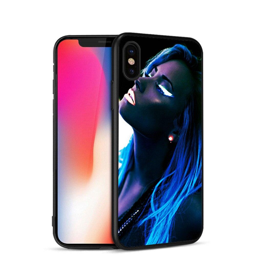 Minason Demi Lovato Blue Shiny Light Soft Silicone Case for iPhone X 5 S 5S 6 6S 7 8 Plus Cover Phone Fundas Capinha de Celular