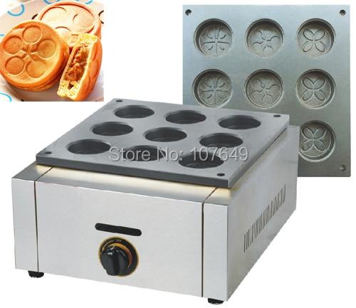 9pcs Commercial Use Non-stick LPG Gas Dorayaki Azuki Bean Waffle Cake Maker Baker Machine hot sale 32pcs gas bean waffle maker