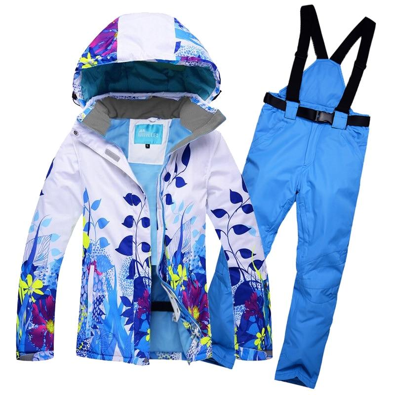 2018 Donne Tuta Da Sci Giacca Da Sci Pantalone Impermeabile Antivento Snowboard Vestito Femminile Super-Caldo Cappotto Stile Floreale Pantaloni Sci Usura