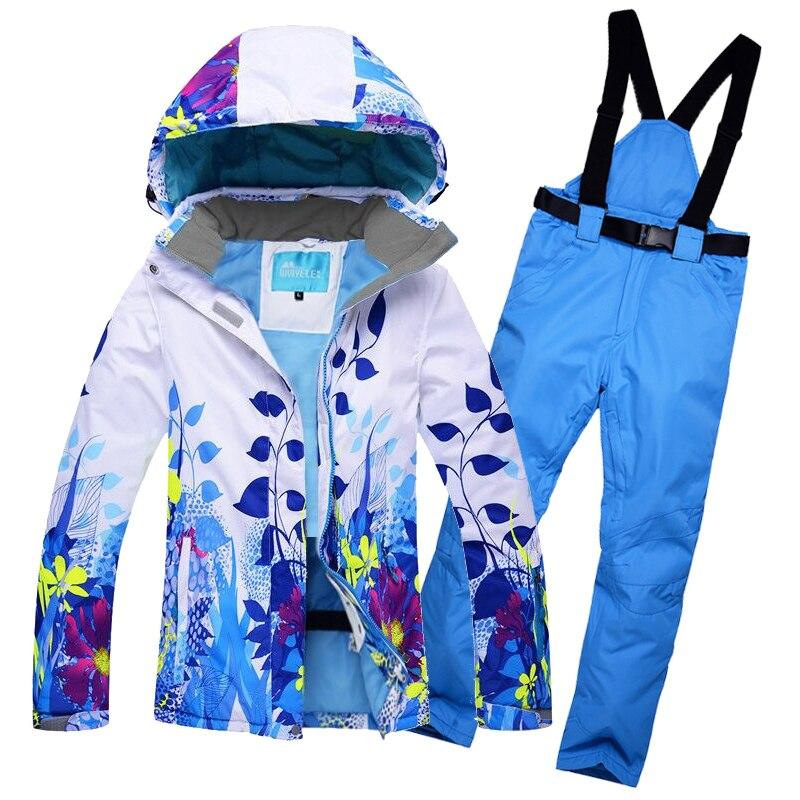 2018 Femmes Combinaison de Ski Ski Veste Pantalon Imperméable Coupe-Vent Snowboard Costume Femme Super Chaud Fleur Style Manteau Pantalon Ski