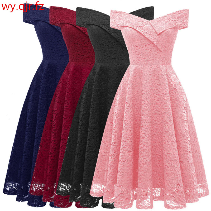 CD1610#Boat neck Pink Short Lace Bridesmaid Dresses wedding party dress gown prom wholesale Bride Wedding Toast clothing China