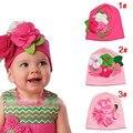 Nueva lindo otoño y primavera 1 unidades flor Headwear niños de los niños sombreros del bebé + edad 6-18 meses, lovey del bebé gorra