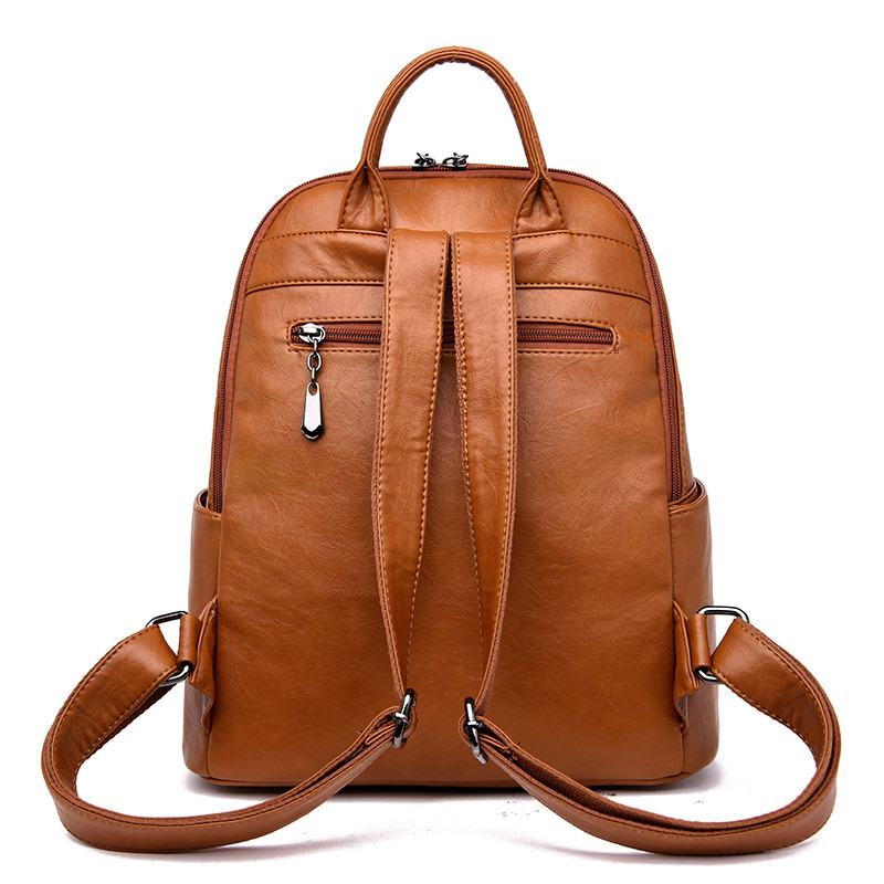 Fashion New Backpack Women Soft Leather Shoulder Bag Female Designer Large School Bags for Girls Mochilas Casual Travel Back Bag