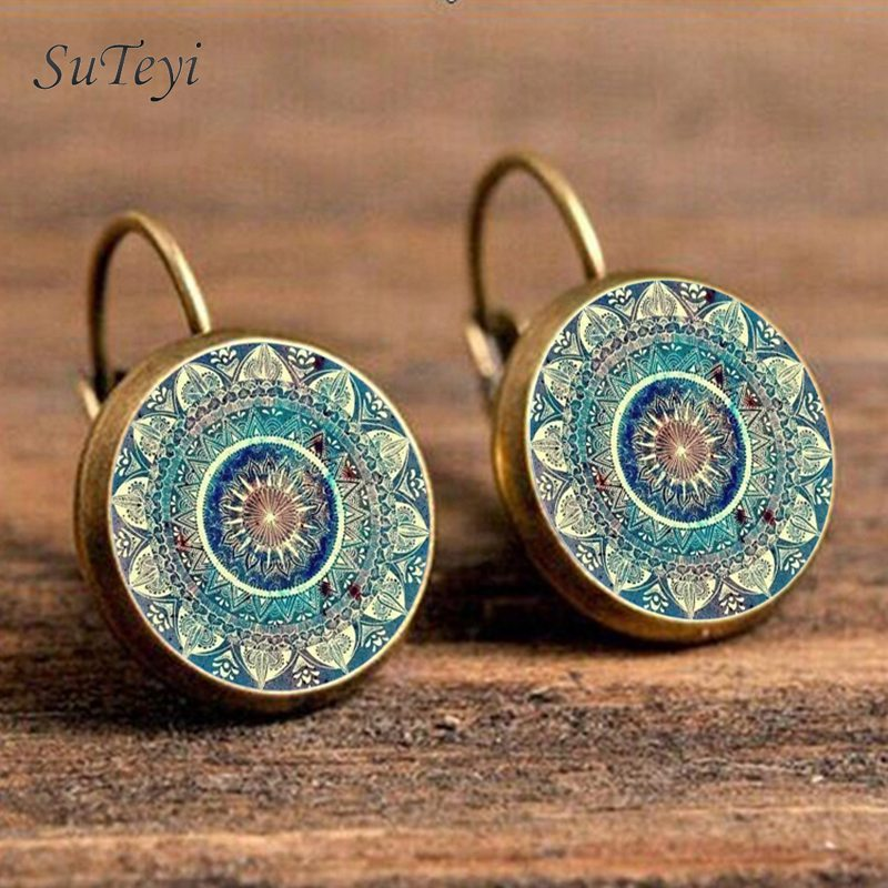 SUTEYI Charm Mandala Art Picture Earrings Henna Crystal Earring Yoga Om Symbol Zen Buddhism Glass Earrings For Women Jewellery(China)