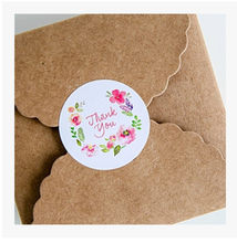 "100pcs Beautiful Flower""thank you"" gift seal label stickers for Handmade Product Party Favor Gift Bag Candy Box(China)"