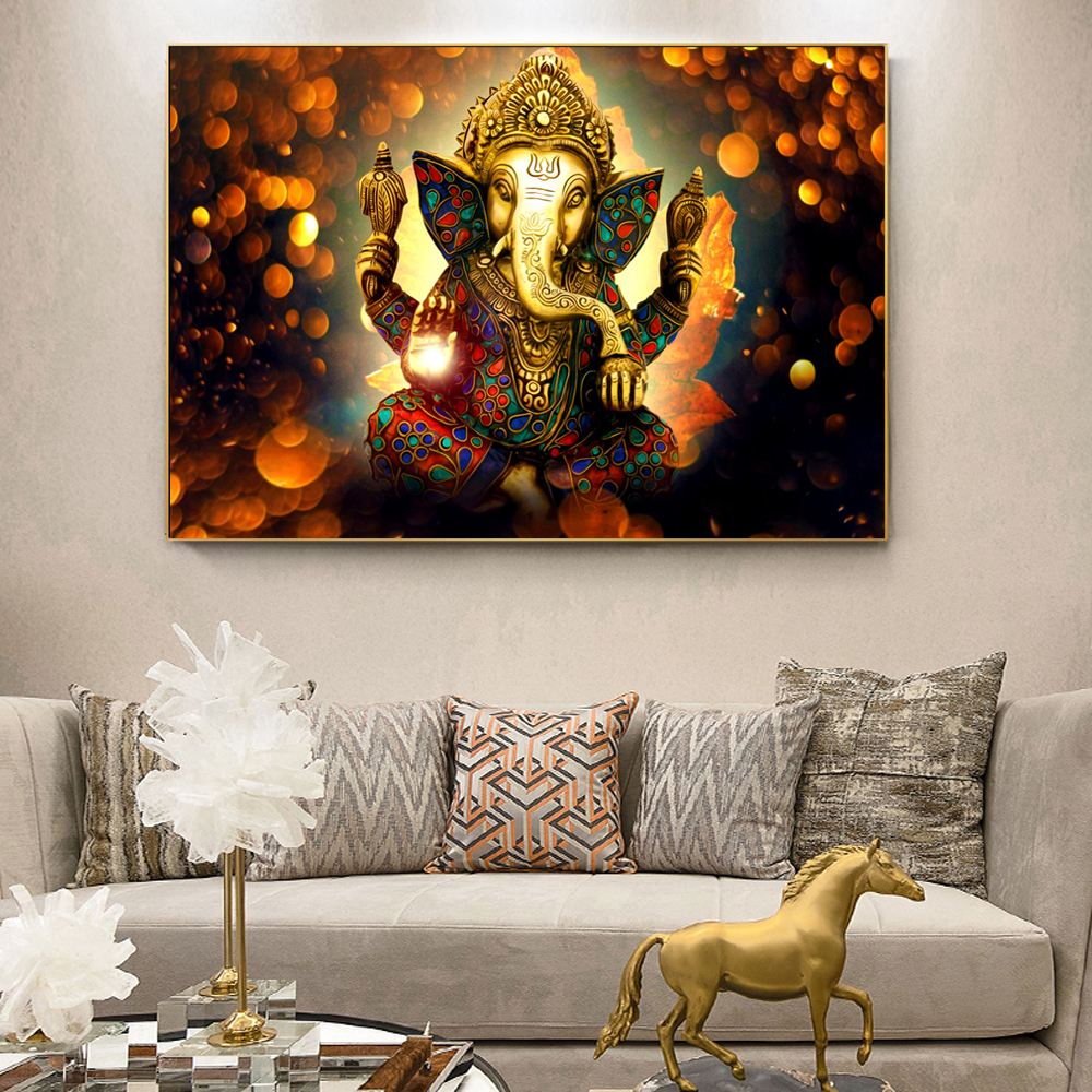 Ganesha Gods Canvas Paintings On The Wall Classical Hindu Gods Wall Art Canvas Prints Hinduism Decorative Pictures Home Decor