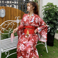 Women Japanese Traditional Costume Female Flower Japanese Kimono Dress for Stage Cosplay Ladies Yukata Costume Kimono Feminino