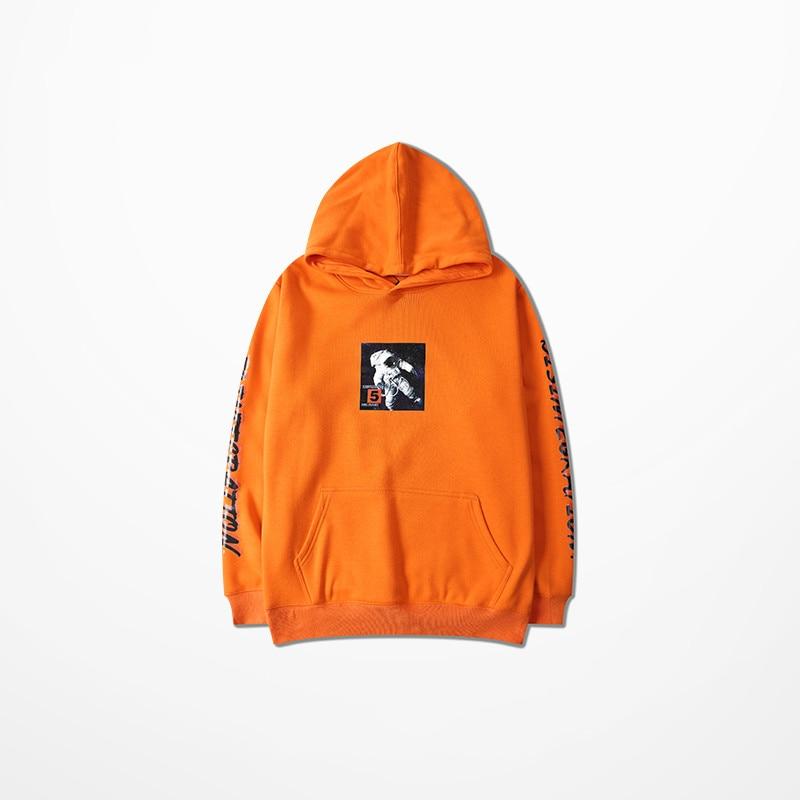 Fashion Chic Mens Hoodies Und Sweatshirts Hip Hop Astronaut Druck Orange Skateboard Sweatshirt High Street Harajuku Hoodie Männer