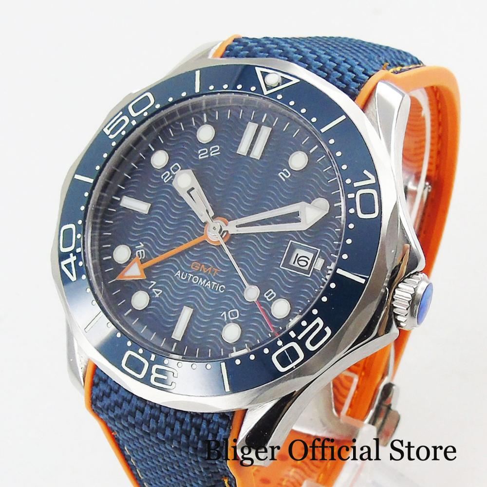 BLIGER Brand Men s Watch With Automatic GMT Movement Date Window Sapphire Glass