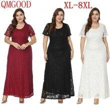 0db50677e 7XL 8XL de gran tamaño de encaje para fiesta vestido largo hasta el tobillo  gordo Mm mujer elegante de noche de alta cintura Max.