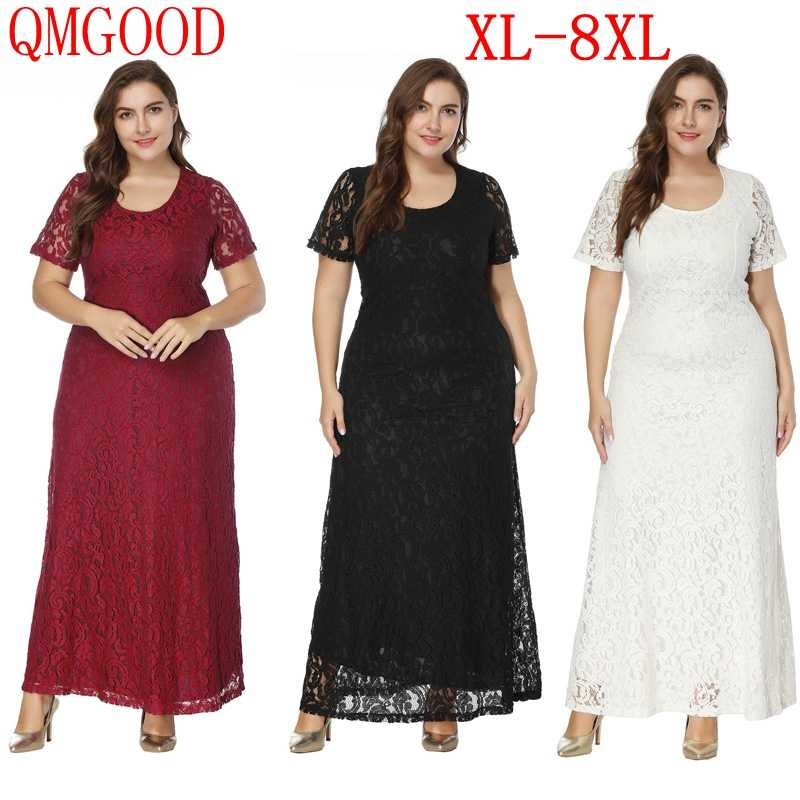 Detail Feedback Questions about 7XL 8XL Large Size Lace Party Long Dress  Ankle Length Fat Mm Women s Elegant Evening High Waist Maxi Dresses Plus  Size ... ec63c3f7f440