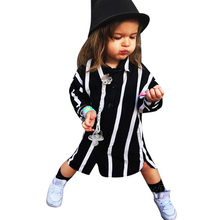 Fashion Children Baby Girl Clothes Autumn Black White Striped Blouse Long Sleeve Casual Shirts Tops For Girls Children Clothing
