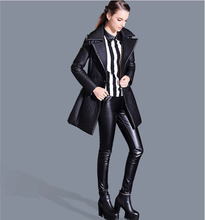2015 Fashion Women Winter Spring Pu Leather Pants Casual Black S/2Xl Slim Pencil Pants Sexy Leather Leggings Free Shipping S1301