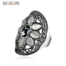 KCALOE Silver Color Natural Opal Ring Blue Oval Crystal Austria Anel Feminino Big Rings For Women Vintage Stone Wedding Jewelry(China)