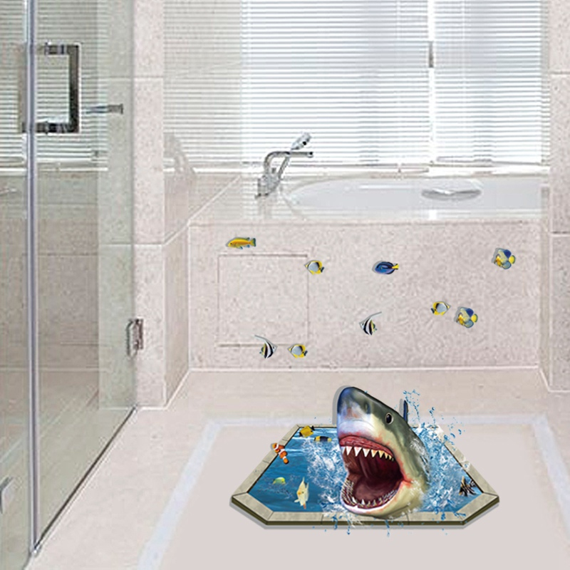 Buy removable creative 3d effect shark for Bathroom floor mural