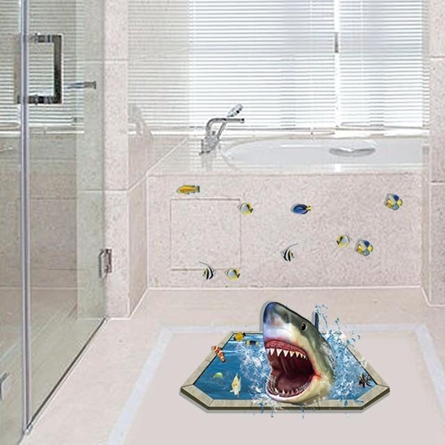Kids Bedroom Vinyl Flooring aliexpress : buy removable creative 3d effect shark vinyl