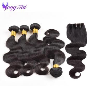 Yuyongtai Peruvian Hair Bundles with Closure Body Wave Bundles With Closure Remy Human Hair Extension 4 Bundles With 4*4 Closure