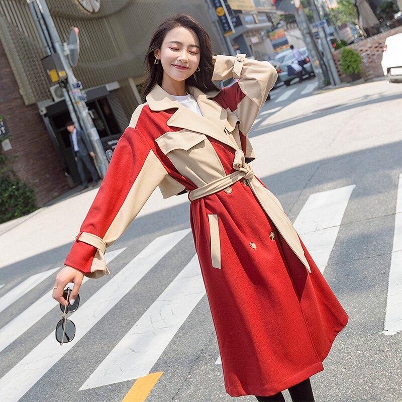 Ceinture Occasionnel Lp415 Tranchée Femelle 2018 Automne Longue Red Pardessus Femmes Femme Nouveau Breasted Survêtement Coréenne Mince Manteau Double De 65Twqwv