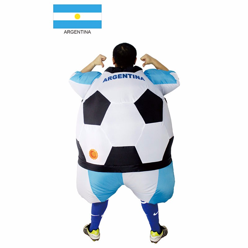 Argentina Inflatable Football Soccer Costume South America Football Player Outfit Party Club Fancy Dress Blow Up Carnival Suits (1)