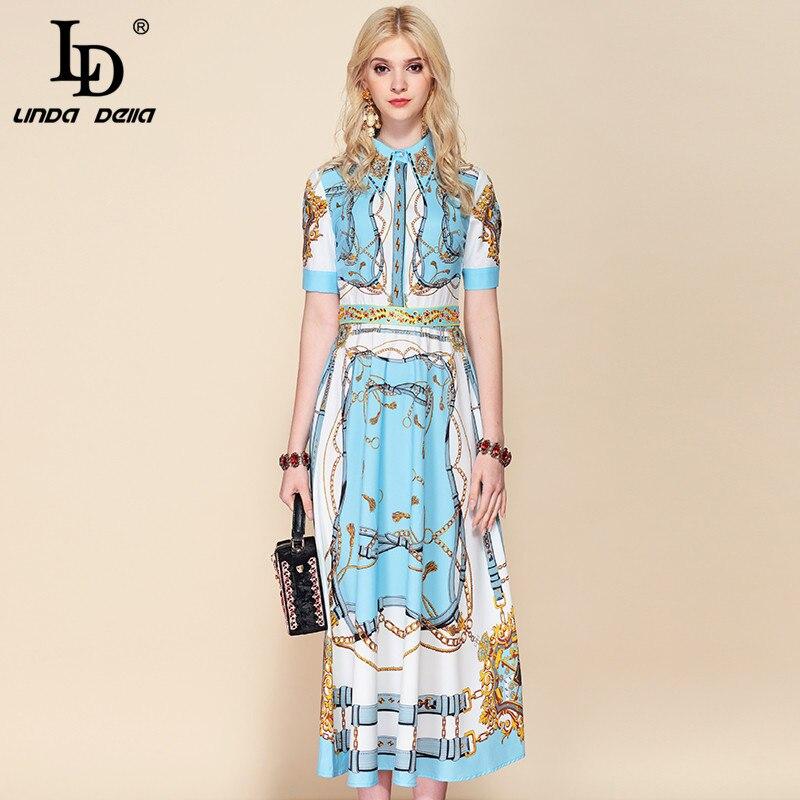 LD 자꾸 미루다가 델라 2019 Fashion 활주로 Suummer 공휴일 긴 Dress Women's Gorgeous Printed 구슬 빈티지 우아한 Dress-에서드레스부터 여성 의류 의  그룹 1
