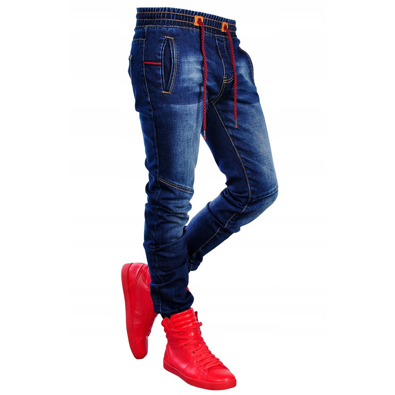 Mens Jeans Trousers Pencil Zipper Pants Patchwork Male Fashion Denim with Holes Clothing title=