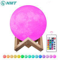 2 Colors 16 Colors 3D Print Moon Lamp Rechargeable LED Night Light Color Change Touch Switch