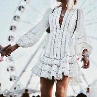 Designer Runway Dress Women Sexy Bandage Tunic V Neck Ruffles Boho Dress 2018 Summer White Chiffon Beach Dresses Vestido