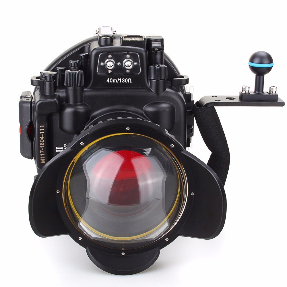 Meikon 40M/130ft Waterproof Underwater Camera Housing Diving Case for Olympus E-M5 II + Fisheye Lens+ Diving handle+Red Filter meikon 40m 130ft underwater camera diving housing for canon eos m5 22mm lens