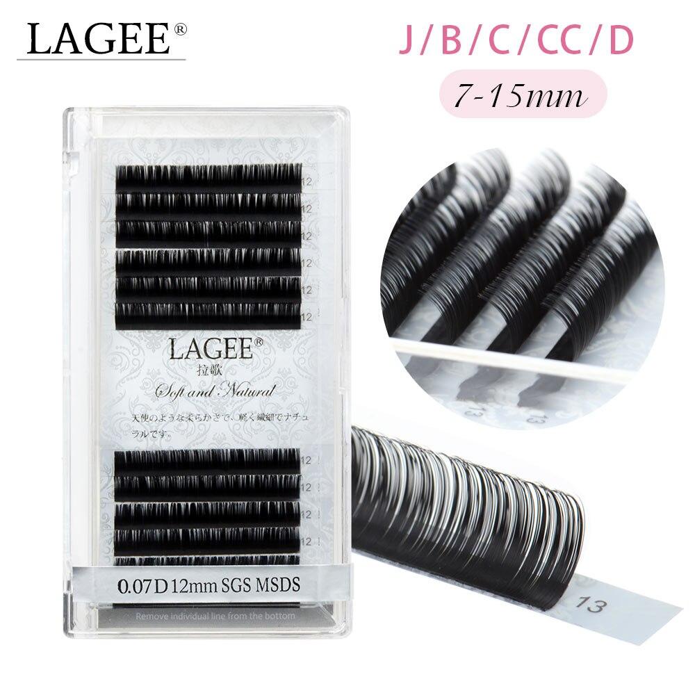 LAGEE Individual Eyelashes 7-15 Mm Mix Premium Fake Mink Eyelash Extension Dark  Black False Eyelashes Soft Nagaraku Line
