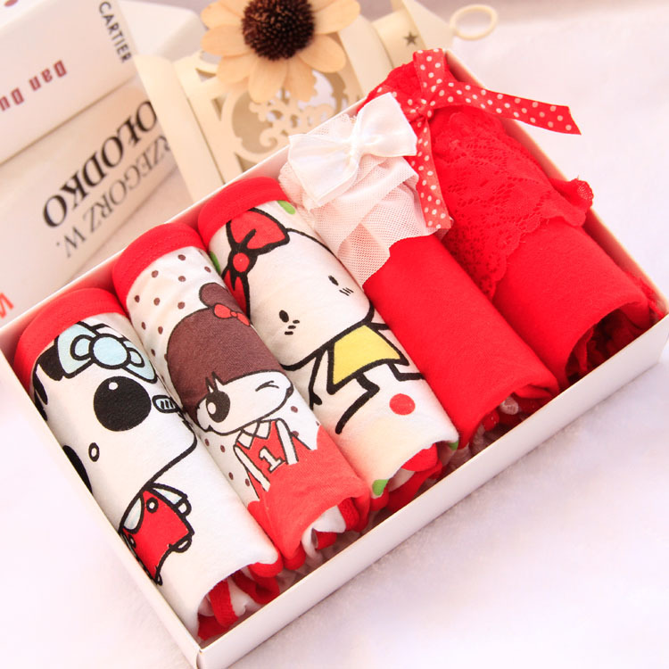 Underwear gift boxes ladies cotton underwear lovely red cotton women panties combination wholesale 6 boxes/lots=30pcs/lots