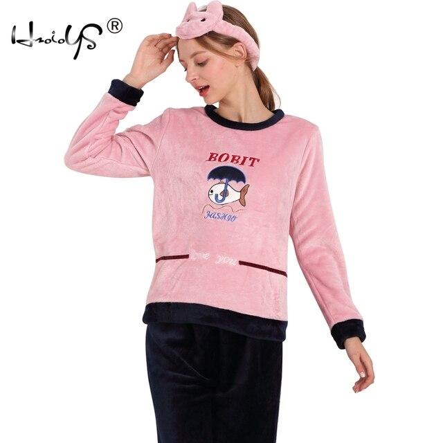 huge discount efc30 fdc5d Herbst Und Winter Verdickung Flanell Pyjama Sets Nachtwäsche Weibliche  Cartoon Pyjamas Lounge Korallen Fleece Pullover