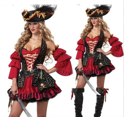 Halloween Sexy Pirate Queen Cosplay Women Adult Red Cosplay Costume Dress Prom Gown Hat Sets Halloween Carnival Costume