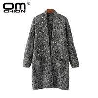 OMCHION Sweater Women 2018 Autumn V Neck Beading Long Cardigan Casual Loose Pocket Beading Knitwear Korean Jacket LS63