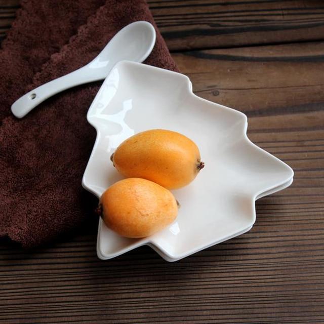 Рождественская елка керамическая посуда столовая посуда салат торт фруктовый десерт конфеты Соусники фарфоровые тарелки Рождественская посуда наборы