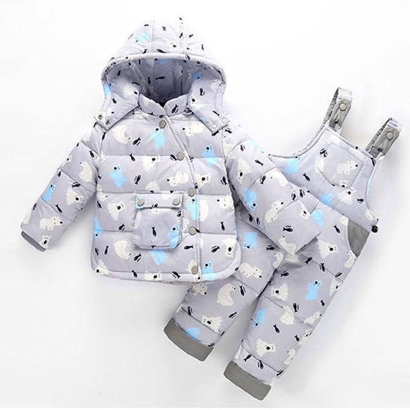 2017 New Pattern Kids Snowsuits Winter Down Jackets For Girls Boys Children Clothes Toddler Warm Outerwear Cartoon Bear Jumpsuit winter down jacket for girls boy coat children s down jackets for boys winter jackets kids outerwears
