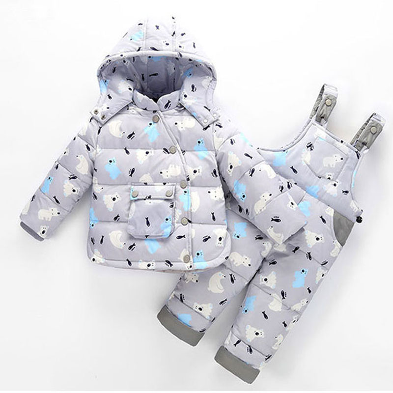 New Pattern Kids Snowsuits Winter Down Jackets For Girls Boys Children Clothes Toddler Warm Outerwear Cartoon Bear Jumpsuit 2017 winter down jackets for boys
