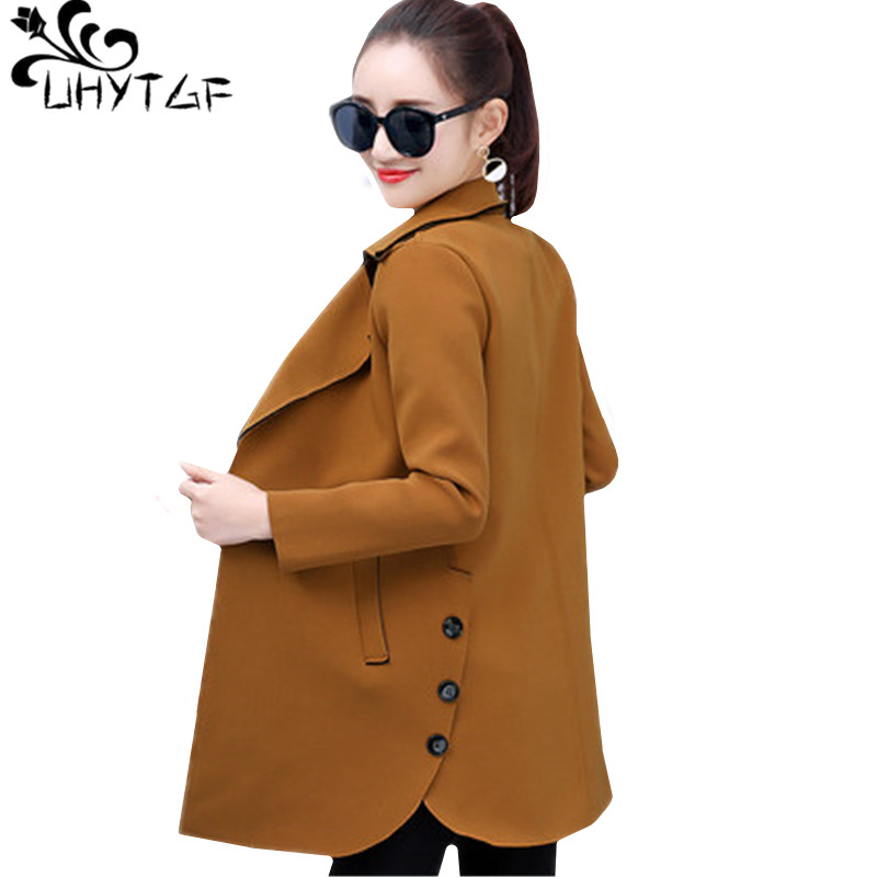 UHYTGF M 4XL Casual Spring Autumn jacket women New Fashion lapels Medium long slim Female coat