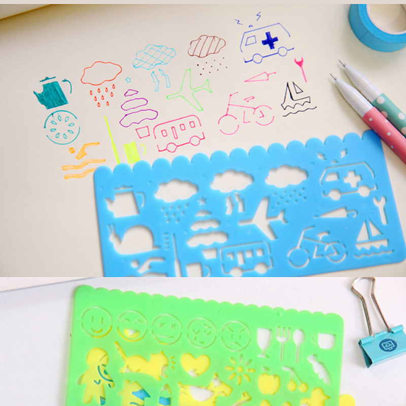 4pcs Korea Stationery Candy Color Linjemåler Oppssed Tegning Skabelon Office Maleri Supplies