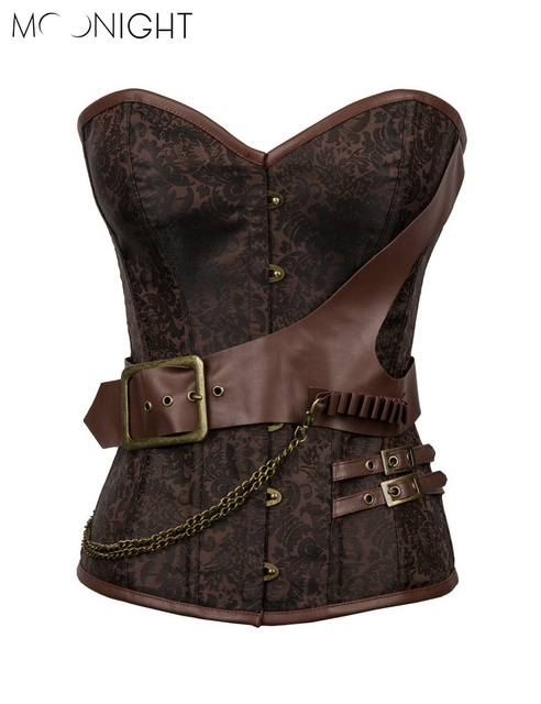 MOONIGHT Plus Size Corset Steel Bone Corset Overbust Steampunk Corset Bustiers With Chain Gothic Bustier Spiral
