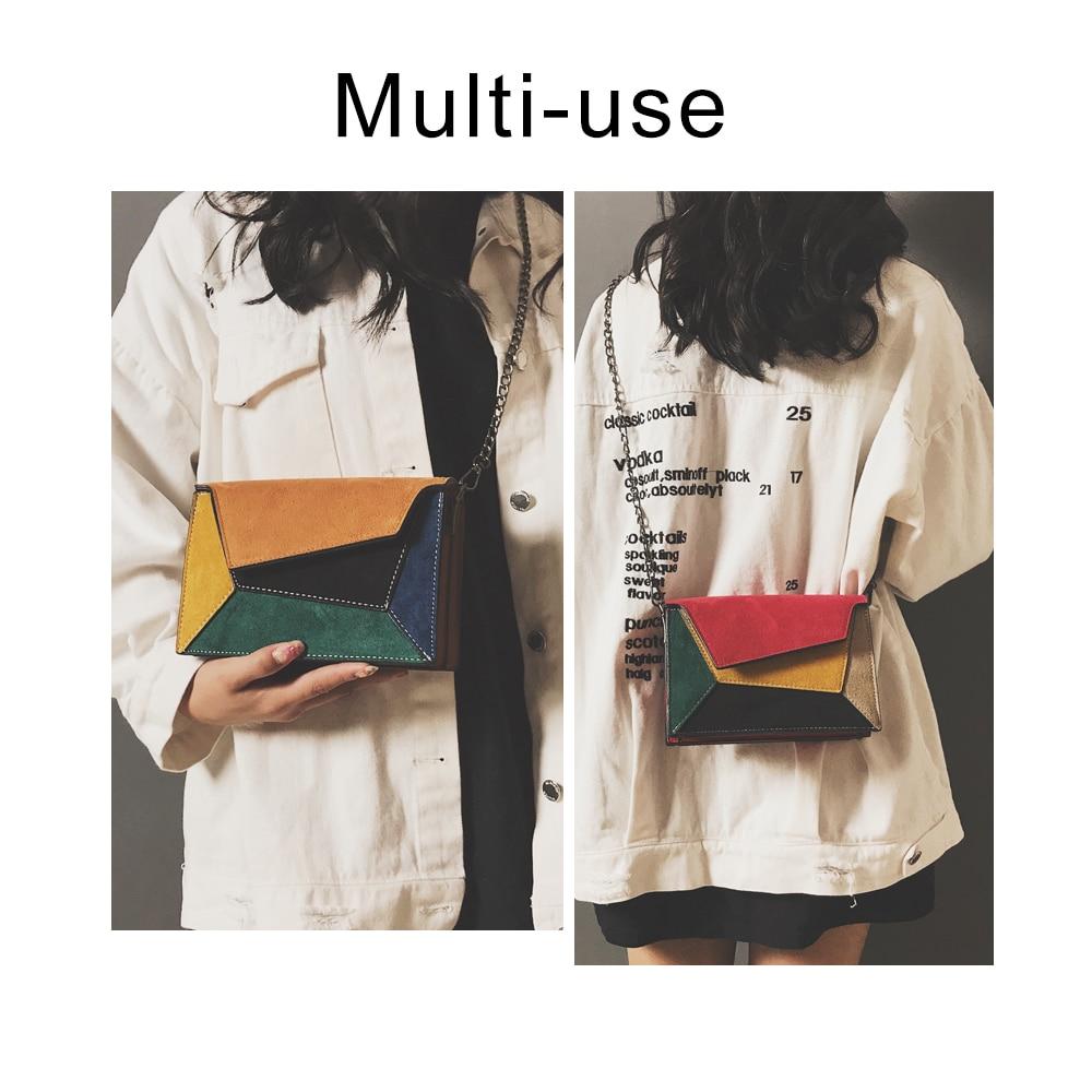 Herald Fashion Quality Leather Patchwork Women Messenger Bag Female Chain Strap Shoulder Bag Small Criss-Cross Ladies' Flap Bag 1