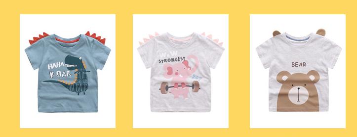 HTB16PG.SFXXXXaWapXXq6xXFXXX4 - Cute Summer New Girls Boy T-shirt Children's Bottom Kids Lovely 3D Animal Cartoon Shirt Baby Clothes, Dinosaur/ Bear/ Elephant