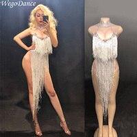 new woman glisten rhinestones stretch sexy bodysuit Silver Long Tassel Costume Birthday Celebrate Dance Wear Luxurious Outfit